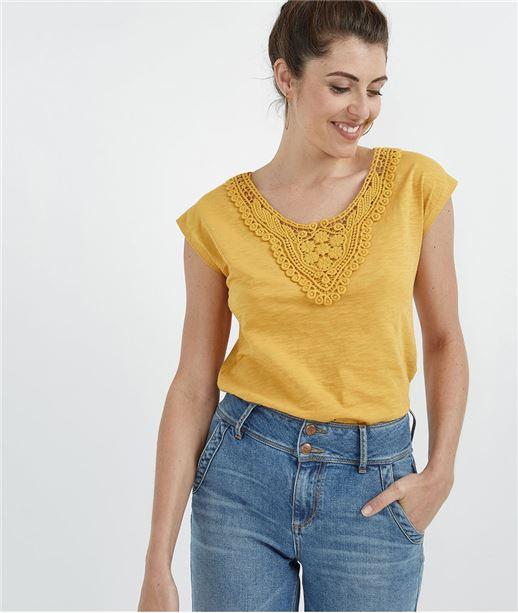 T-shirt femme avec col guipure SAFRAN
