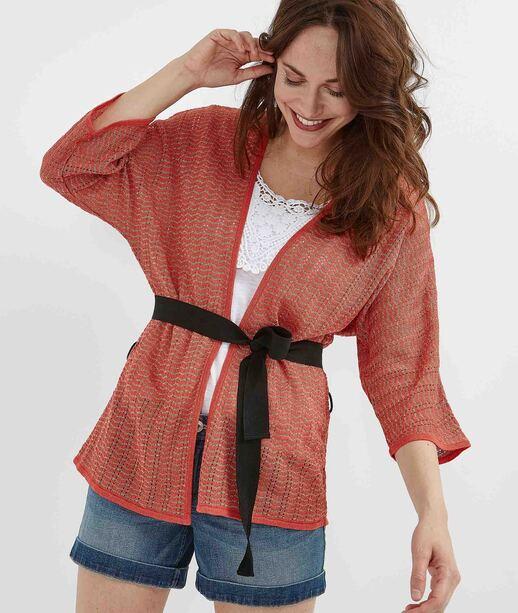 Gilet kimono corail avec ceinture CORAIL