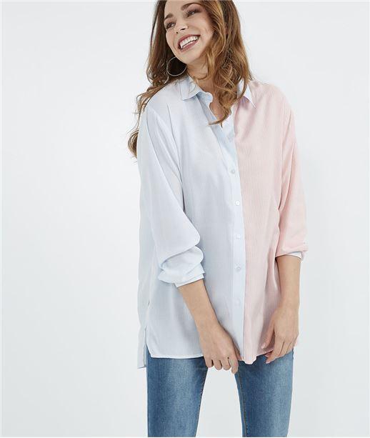 Chemise femme oversize bicolore RAYURE BLEU