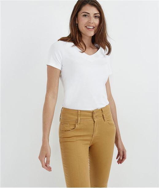 T-shirt femme basique manches courtes BLANC