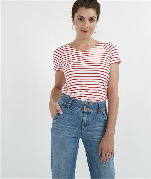 T-shirt femme marinière rouge BLANC