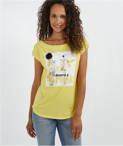 T-shirt jaune avec fleurs et pompons SAFRAN