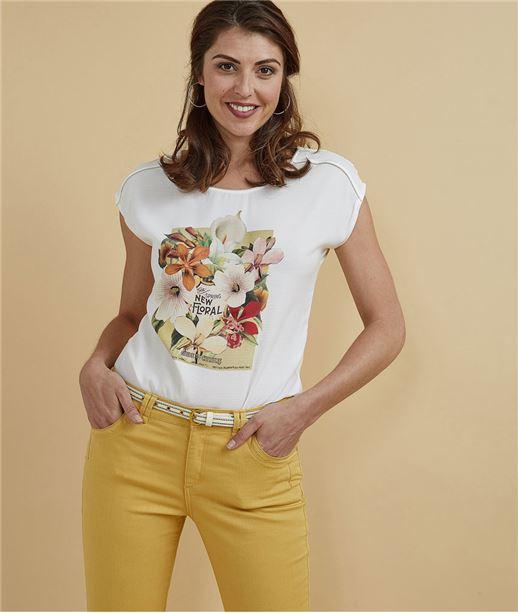 T-shirt femme imprimé tropical ECRU
