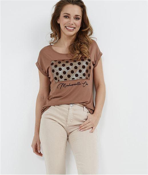 T-shirt femme à pois avec sequins CARAMEL