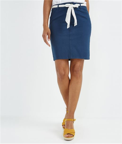 Jupe en coton avec ceinture foulard MARINE