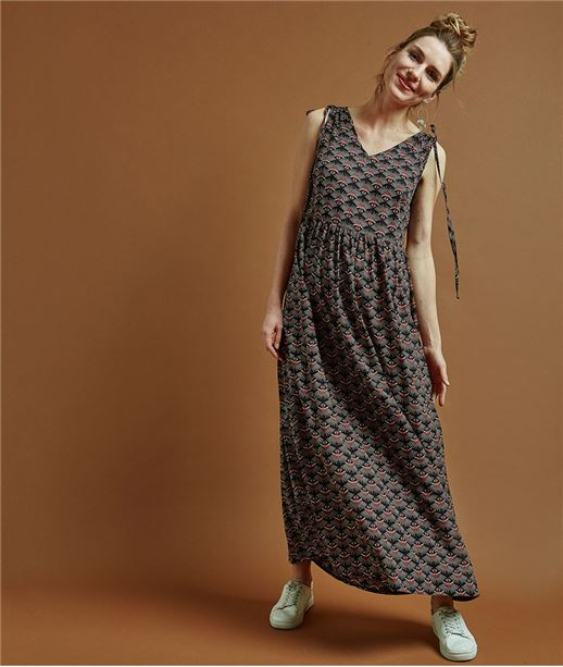Robe femme longue imprimé wax NOIR