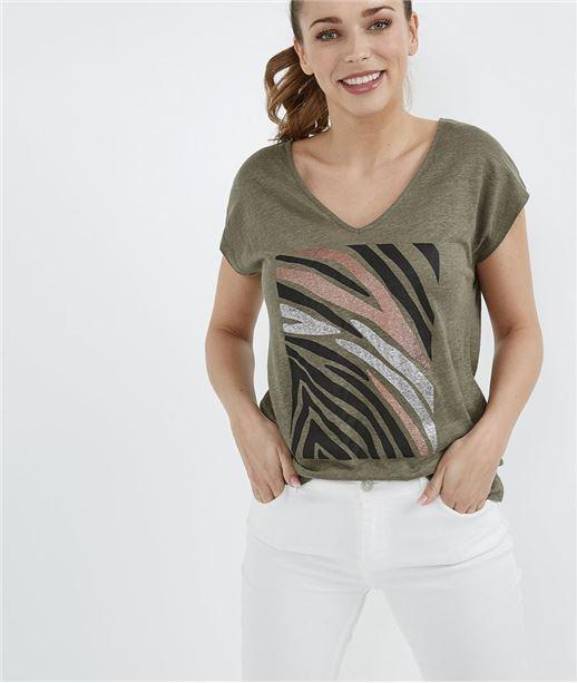 T-shirt imprimé zèbre KAKI