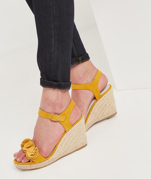 Sandales compensées avec fleurs JAUNE