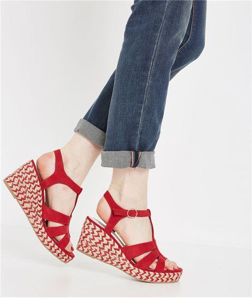 Sandales compensées rouges ROUGE
