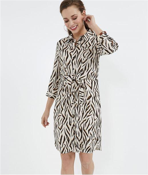 Robe chemise femme imprimé zèbre BEIGE