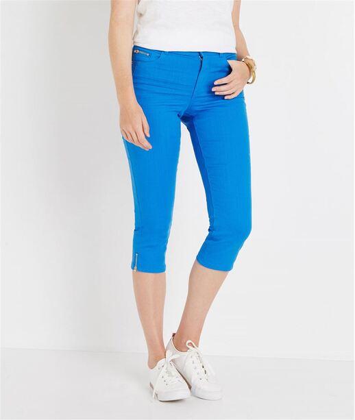 Corsaire en jean de couleur BLEU