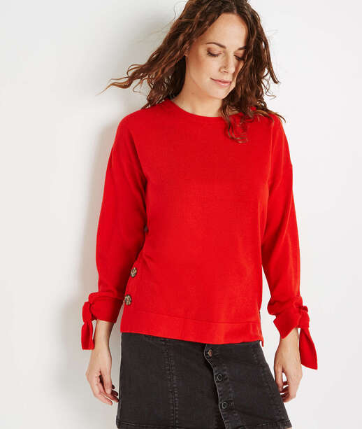 Pull rouge avec noeuds poignets ROUGE