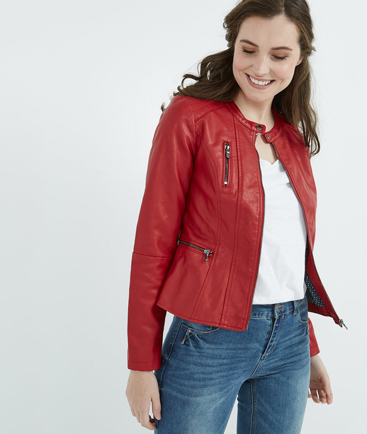 Veste simili cuir ROUGE