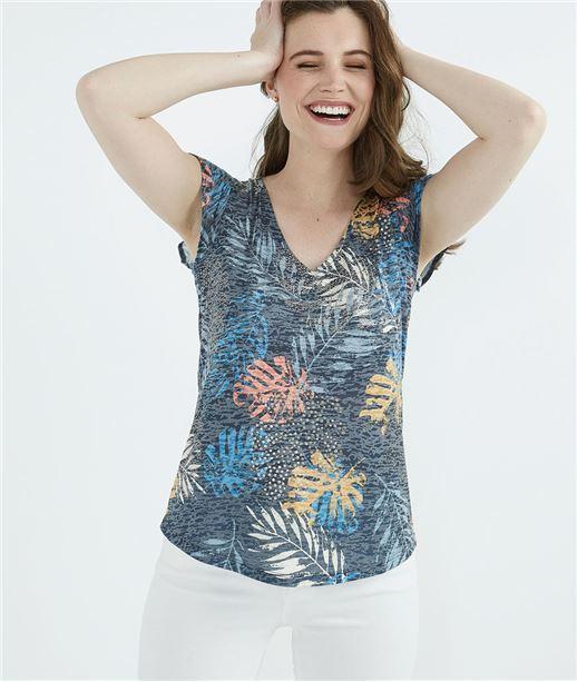 b72c902471e T-shirt femme imprimé feuillages MARINE