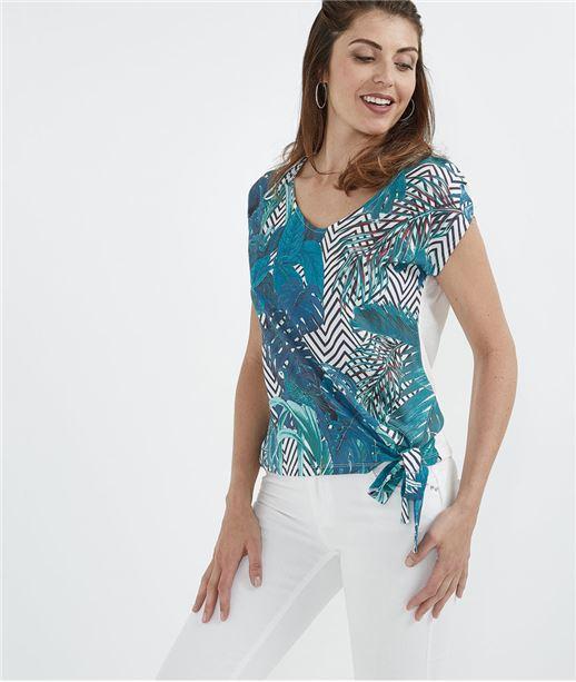 T-shirt femme imprimé feuillages BLEU