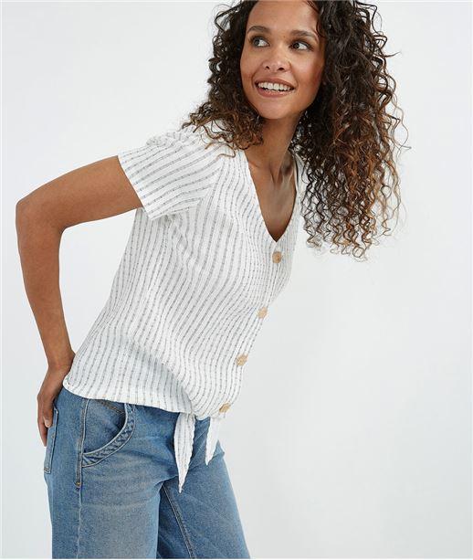 T-shirt en maille boutonné et rayé BLANC