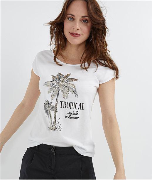 T-shirt femme blanc palmiers sequins BLANC