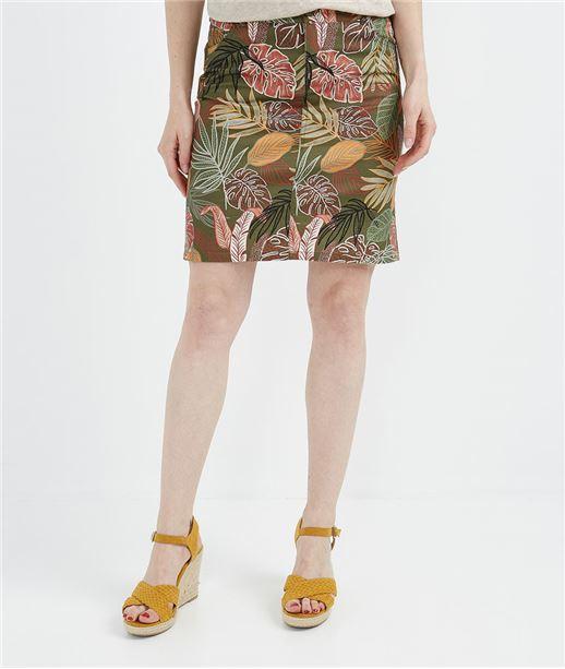 Jupe en coton imprimé tropical IMPRIME