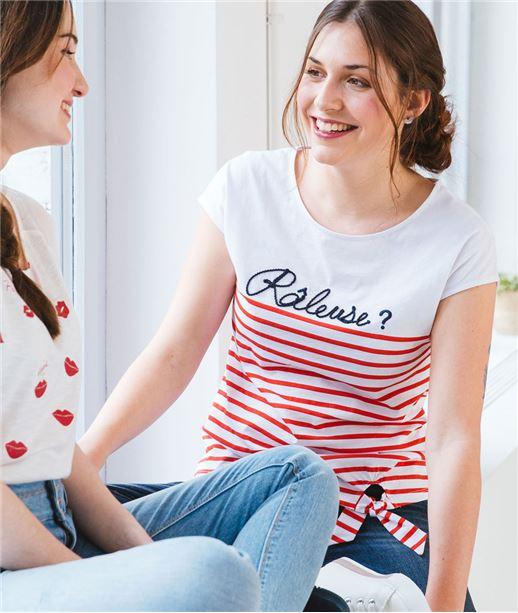 455e3ddc5ce T-shirt 100% coton message râleuse BLANC