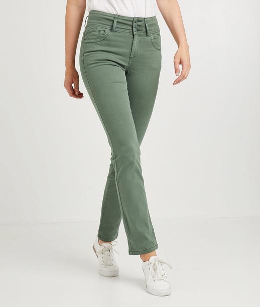 Pantalon droit taille haute de couleur EUCALYPTUS