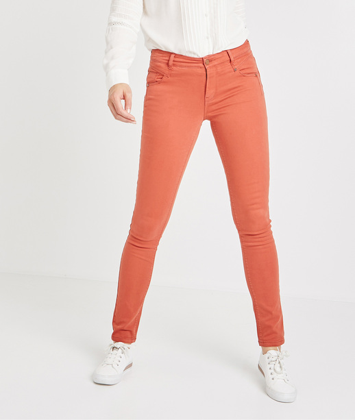 Pantalon slim push up de couleur PAPRIKA