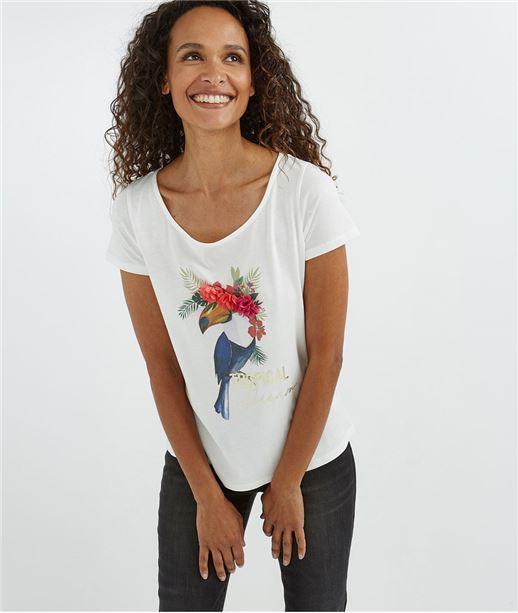 T-shirt blanc imprimé toucan et fleurs ECRU