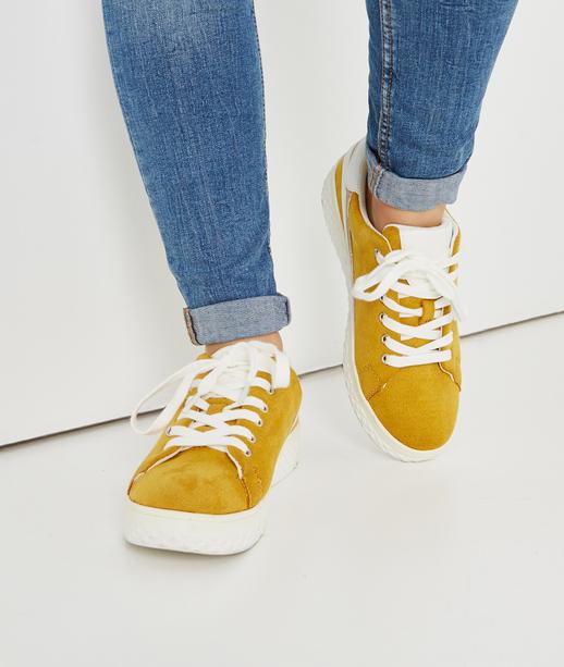 Baskets jaunes avec bande dorée JAUNE