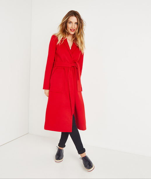 Manteau long rouge ROUGE