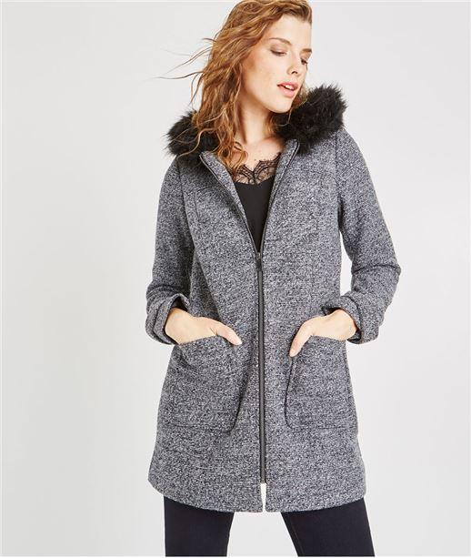 Manteau à capuche imitation fourrure GRIS