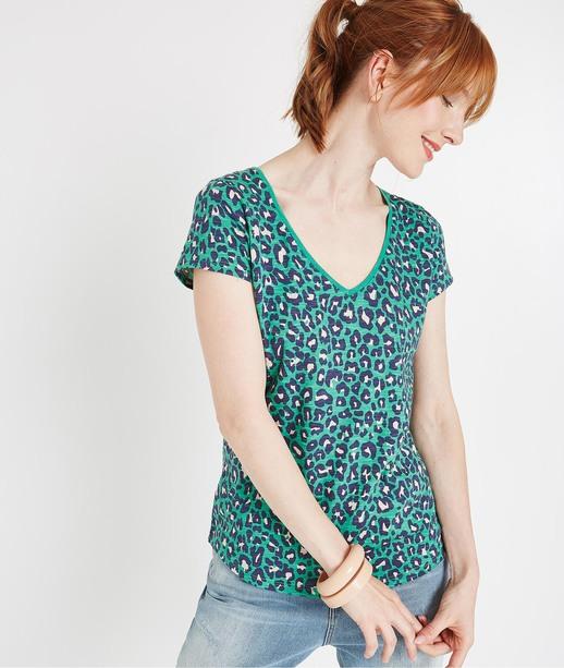 T-shirt basique col V imprimé VERT