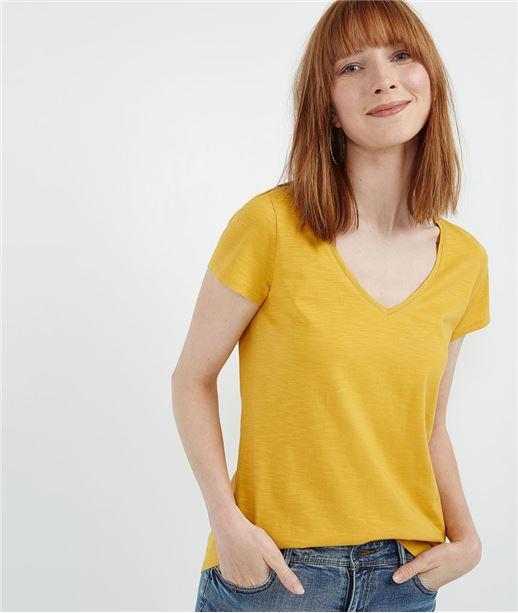 T-shirt basique uni de couleur SAFRAN