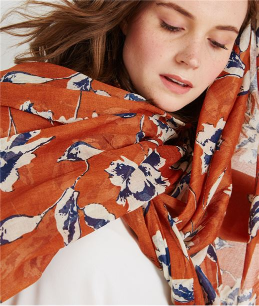 Foulard imprimé fleuri ORANGE