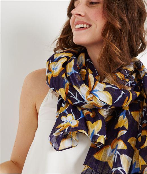 Foulard imprimé fleuri avec lurex JAUNE