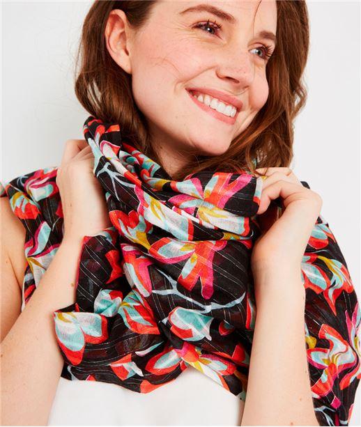 Foulard imprimé fleuri avec lurex NOIR