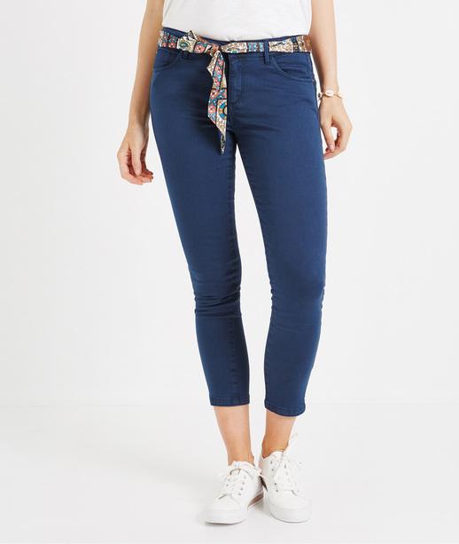 Pantalon 7/8ème de couleur avec ceinture PRUSSE