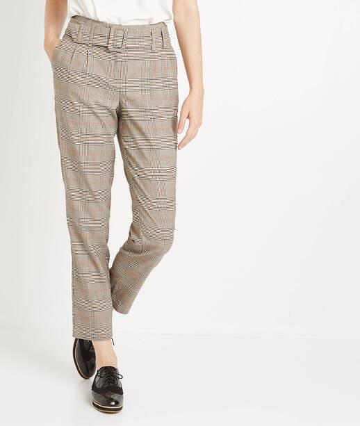 Pantalon taille haute à carreaux CARAMEL