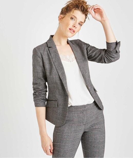 Veste de tailleur grise à carreaux GRIS