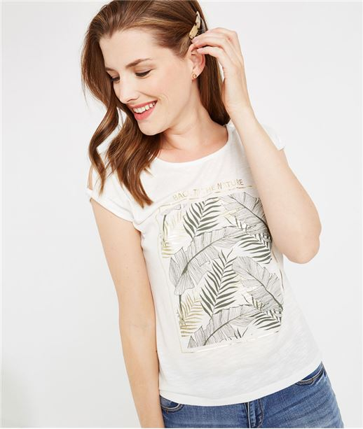 T-shirt blanc print feuillages ECRU