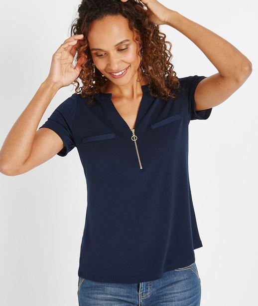 T-shirt uni avec décolleté zippé MARINE