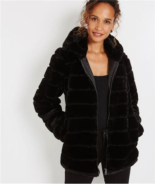 Manteau imitation fourrure à capuche NOIR