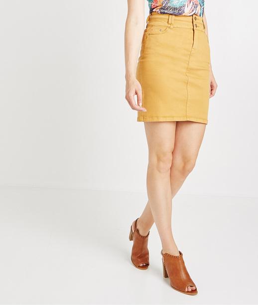 Jupe en jean de couleur taille haute AMBRE