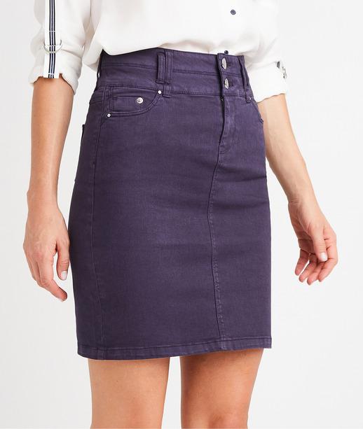 Jupe en jean de couleur taille haute MARINE
