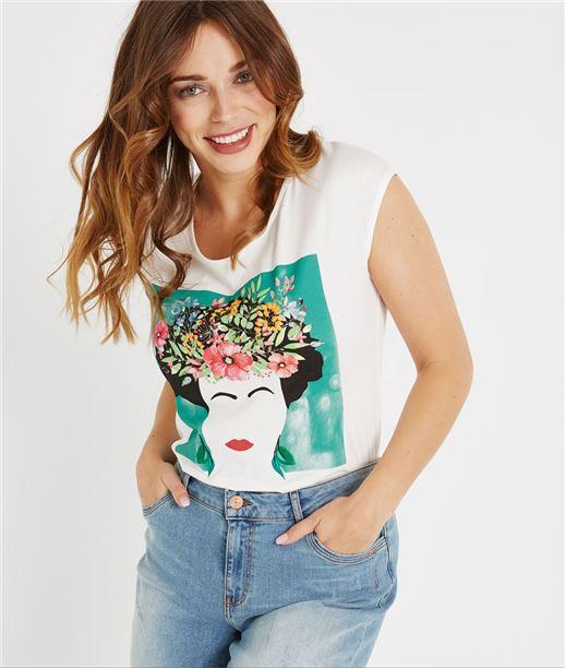 T-shirt blanc avec print femme BLANC