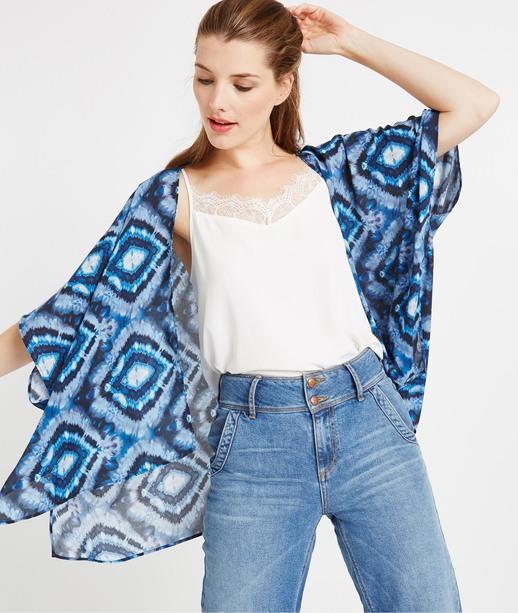 Veste kimono bleu imprimé BLEU