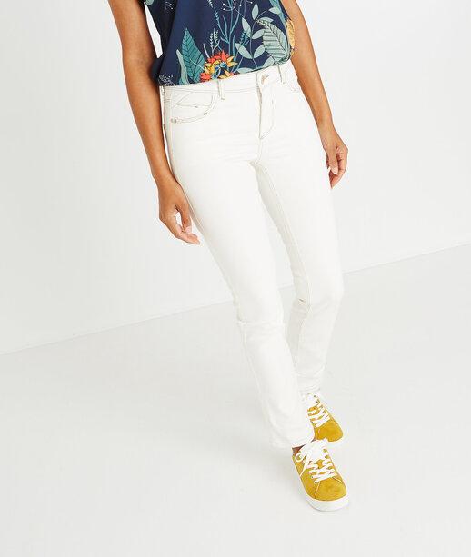 Jean blanc raccourci coutures apparentes BLANC