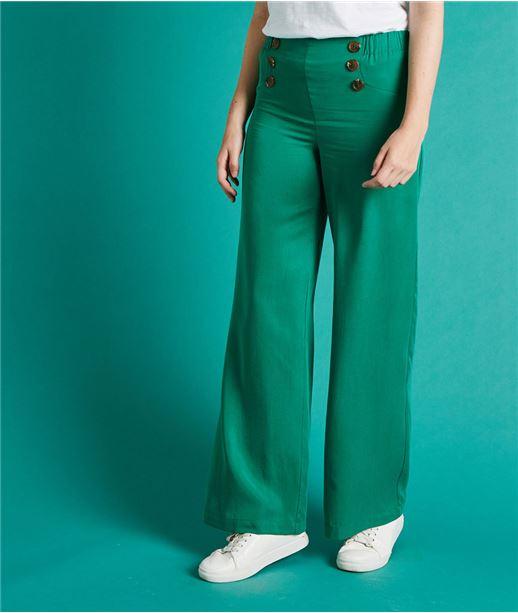 Pantalon fluide avec boutons VERT