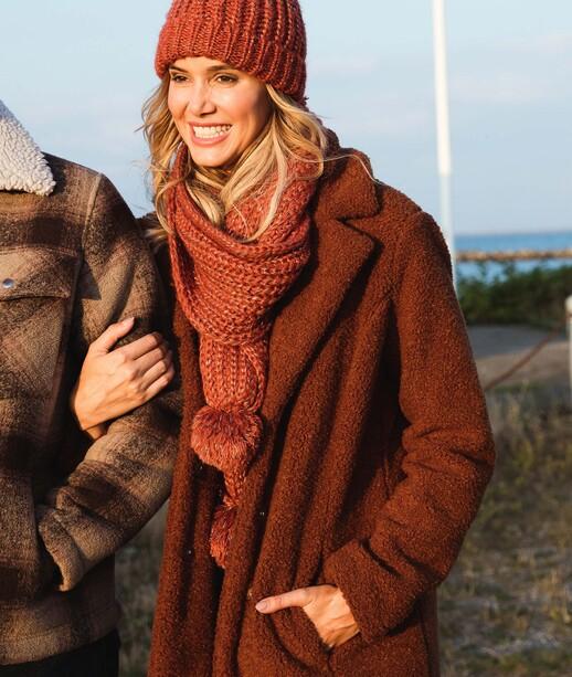 Manteau effet fourrure femme CARAMEL