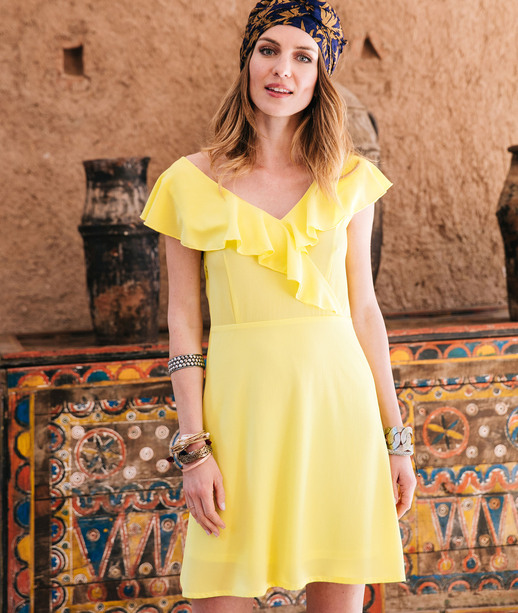 Robe jaune unie avec volants LEMON