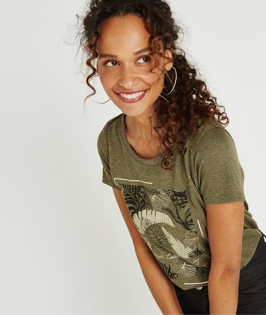 T-shirt kaki avec imprimé brillant KAKI