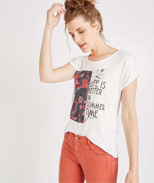 T-shirt manches courtes avec print BLANC